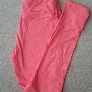 Pants - Lularoe leggings one size heathered coral